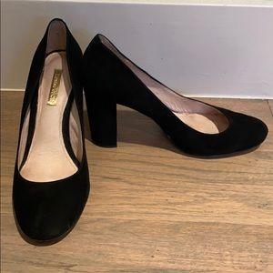 Louise Et Cie Black Block Heel Suede Pump Size 7.5
